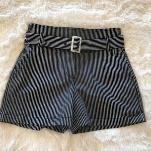 Anthropologie Railroad Striped Shorts with Belt